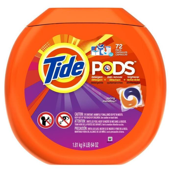 Tide PODS Spring Meadow HE Turbo Laundry Detergent Pacs 72 ct. Tub *BRAND NEW*