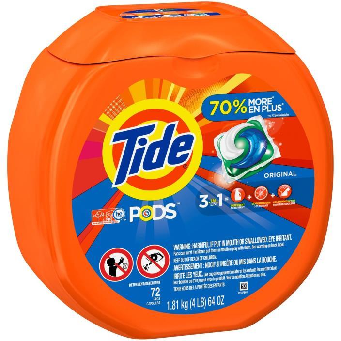 216 PODS -- Tide PODS HE Laundry Detergent, ORIGINAL SCENT (3x 72 Pod/Packs)