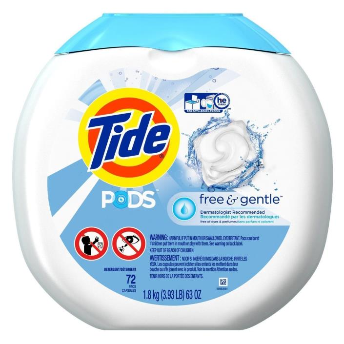 216 PODS -- Tide PODS Free & Gentle HE Laundry Detergent (3x 72 Pod/Packs)