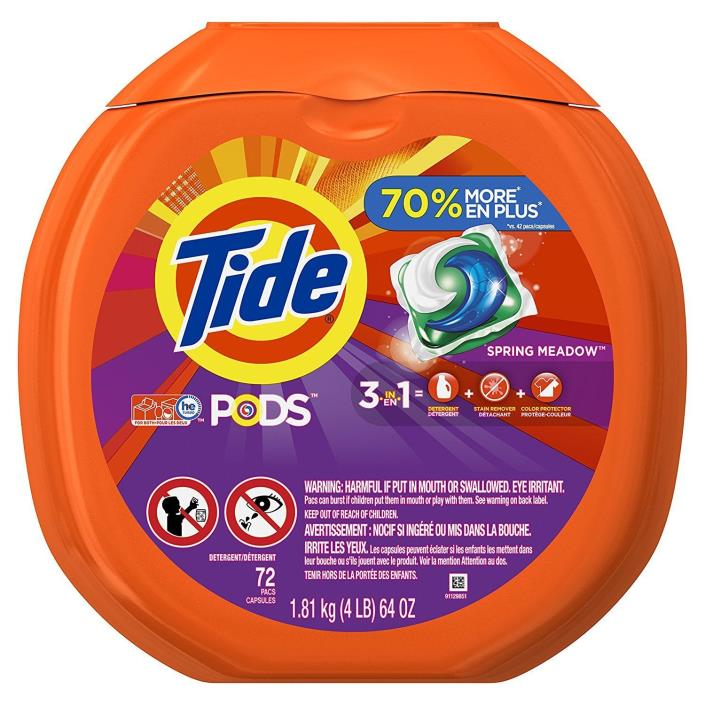 216 PODS -- Tide PODS Spring Meadow HE Laundry Detergent (3x 72 Pod/Packs)