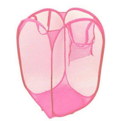 2016 New Foldable Pop Up Washing Clothes Laundry Basket Bag Hamper Mesh Storage