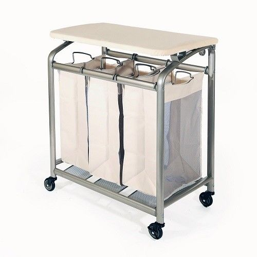 Laundry Sorter with Folding Table Seville Classics 3-bag