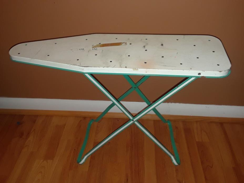 Vintage Teal & White Metal Table Top Ironing Board - 21-Inches x 6-Inches