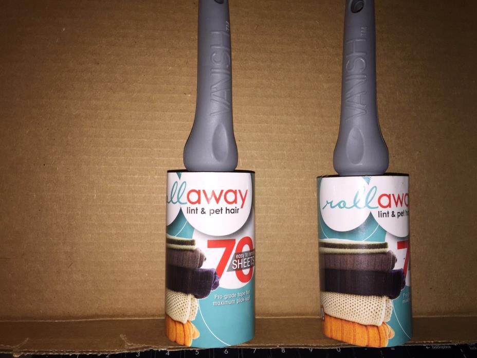 Vanish 70 Sheet Sticky Peel Lint Pet Hair Roller Remover NEW LOT OF 2