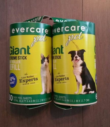 2 Evercare Giant Refills for Extra Sticky Pet Hair Lint Roller, 60 Sheets each