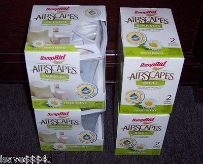 2 NEW DAMPRID AIRSCAPES STARTER KITS & 2 BOXES REFILLS - 2 CONTAINERS  6 REFILLS