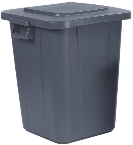 Square Trash Can Storage Garbage Waste Container 4 Pack 40 Gallon Lidless Gray