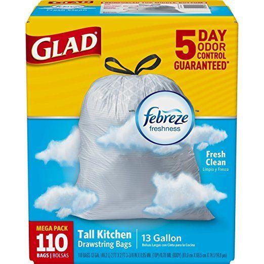 Glad OdorShield Tall Kitchen Drawstring Trash Bags - Febreze Fresh Clean - 13 Ga
