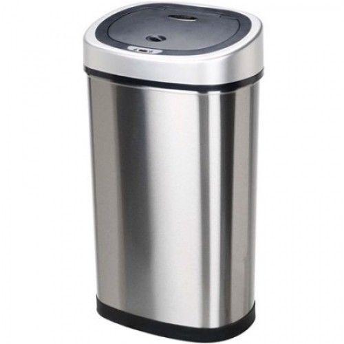 Nine Stars Motion Sensor Slim Touchless 13-Gallon Trash Can, Stainless Steel