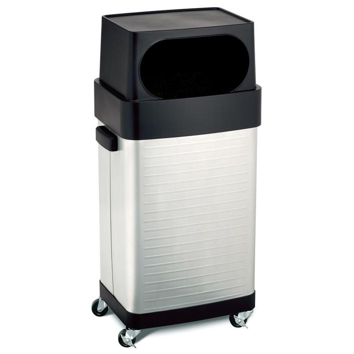 Seville 17 Gallon Stainless Steel Rolling Trash Bin Garbage Can UltraHD Waste