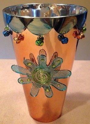 Decorative Tin Wastebasket, Beads & Flower Accents, Girls Room,Fun Decor, 6x10