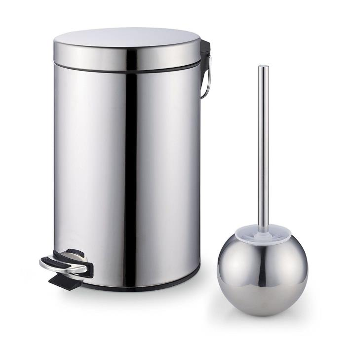 Trash Can Stainless Steel Toilet Brush Set Easy to Clean Bathroom Accessories