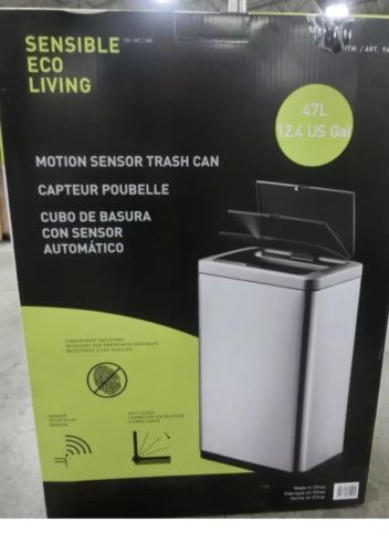Eko Sensible Eco Living Stainless Steel 47L 12.4G Motion Sensor Trash Can NEW