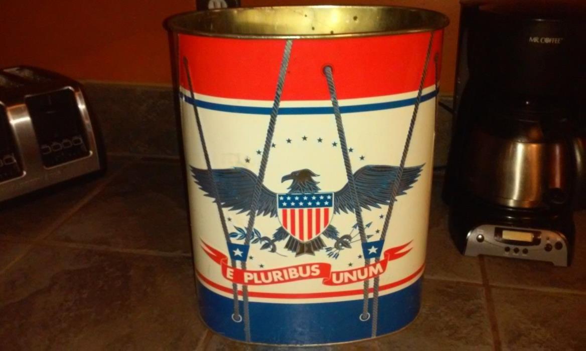 Vintage Metal Decoware Waste Basket Trash Can E PLURIBUS UNUM 4th July Patriot