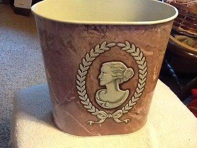 Vintage CAMEO WOMAN PORTRAIT Metal Wastebasket Trash Can Pink Marble Weibro