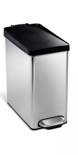 NEW- simplehuman Rectangular Step Garbage Trash Can, Stainless Steel, 10 L