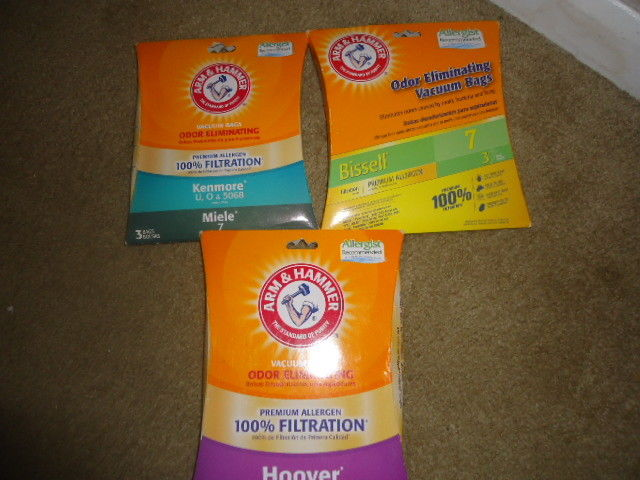 LOT of 3 PKG Arm & Hammer vacuums bags