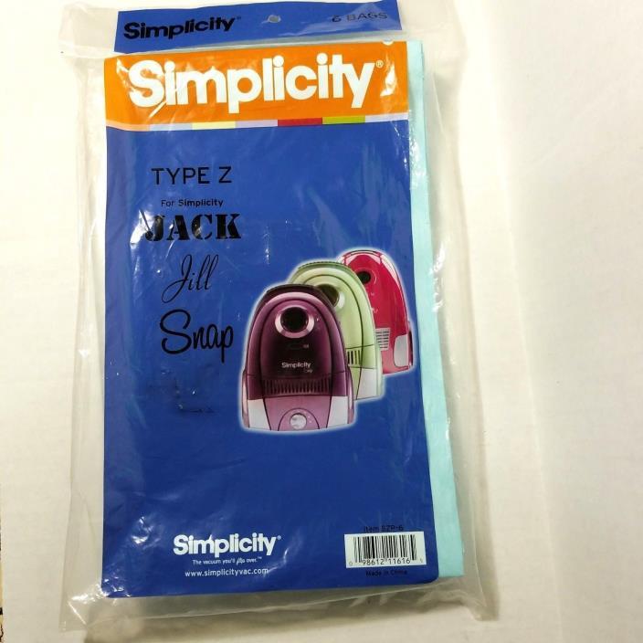 Simplicity Type Z Vacuum Bags 6 pack Jack Jill Snap (F733)