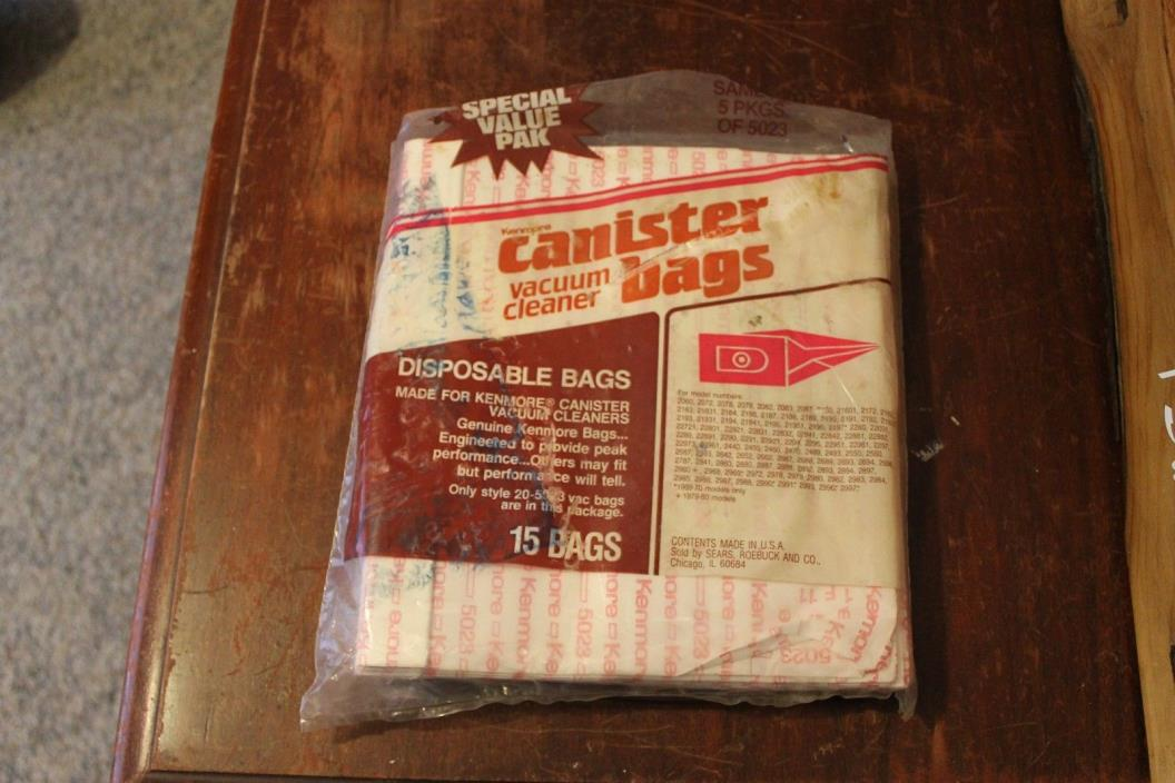 Kenmore Canister Vacuum Bags Style 20-5023 15 Count Pack