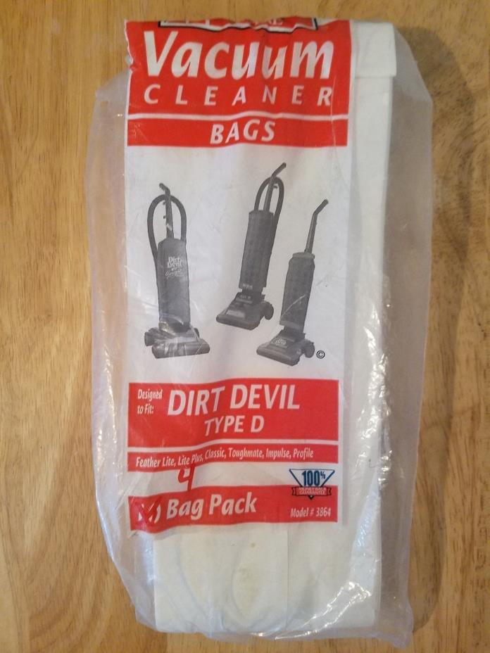 4 American Fare Dirt Devil vacuum bags, type D. model# 3864