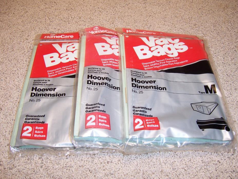 Home Care Type M Vacuum Bags for Hoover Dimension (3 Packs of 2 - 6 Total)