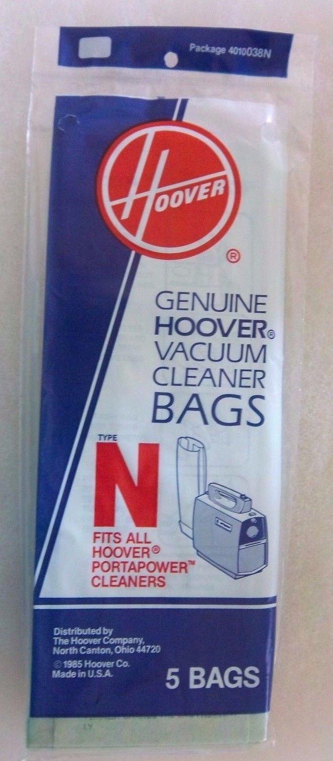GENUINE HOOVER VACUUM CLEANER BAGS TYPE N  5 BAGS