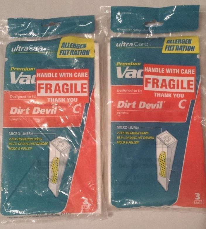 Vacuum Cleaner Bags Dirt Devil Type C Lot of 2 (6 bags total)