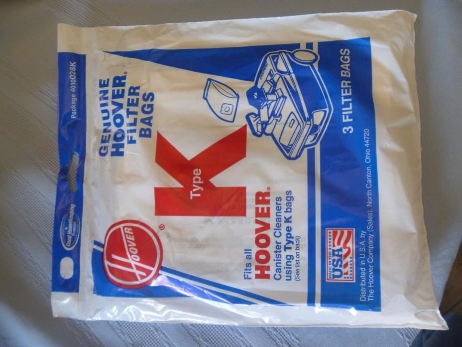 NEW HOOVER TYPE K VACUUM  BAGS FITS CANISTER  SPIRIT ENCORE SUPREMACY