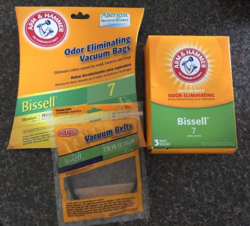 Bissell Vacuum Cleaner Arm Hammer Odor Eliminating 4 Bags Style 7 & 1 Belt.