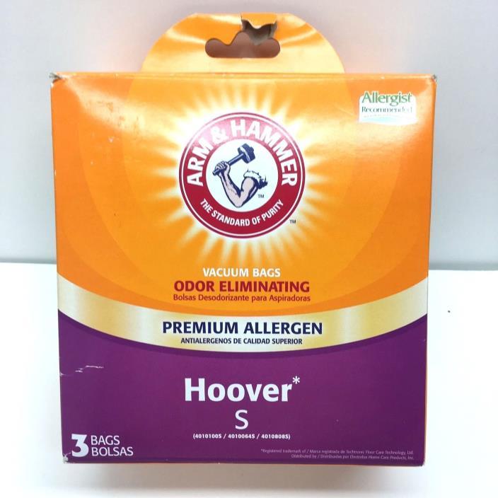 Arm & Hammer Hoover S Vacuum Bags Odor Eliminating Premium Allergen - 3 Bags