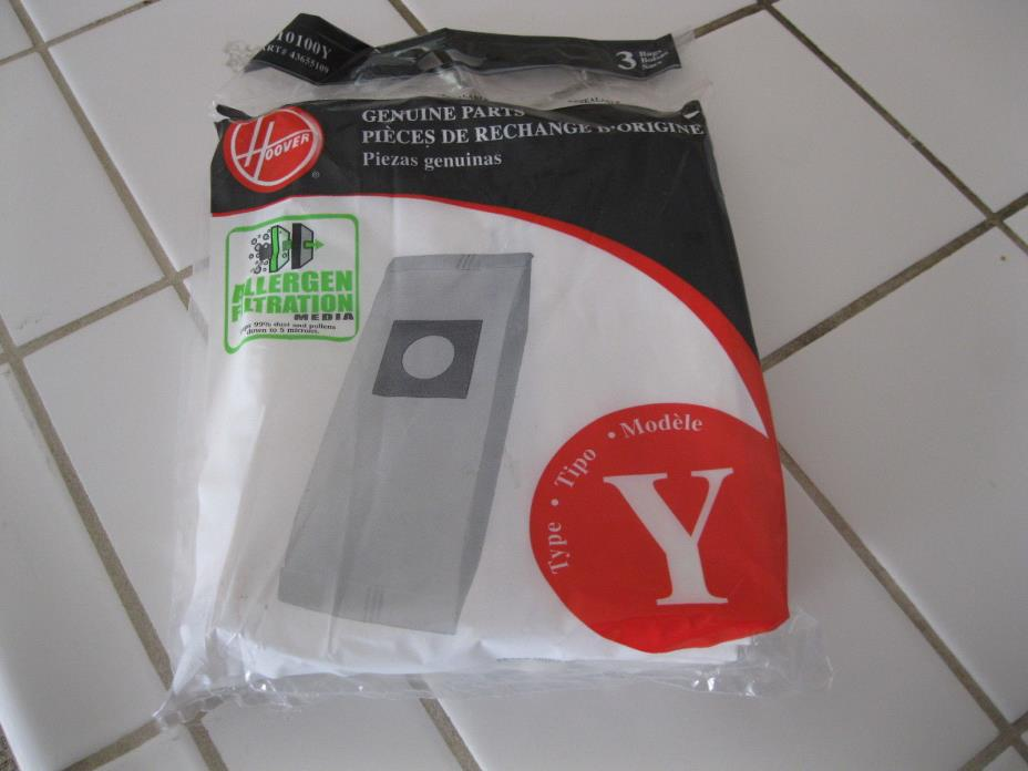 GENUINE HOOVER Y Vacuum Cleaner Bags  Allergen Filtration  1 pk contains 3  BAGS