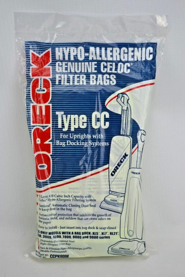 (8) Oreck Type CC Upright Vacuum Cleaner Bags Pack of 8 Genuine  XL CCPK8DW OEM