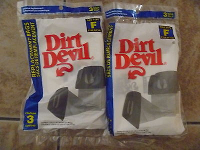 ORIGINAL 6 DIRT DEVIL TYPE F VACUUM BAGS SALE 2Pk 2x3  6 BAGS