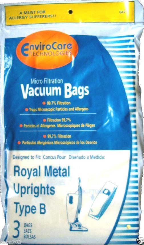 3 pk ROYAL Type B Upright Vacuum Bags, Part 847, 3-671075-001, 3067247001