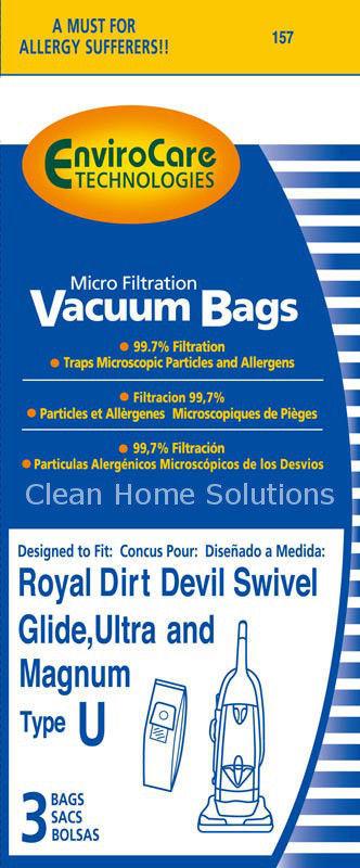 Dirt Devil Royal Type U Micro Filtration Vacuum Cleaner 3 pack of Bags Style U