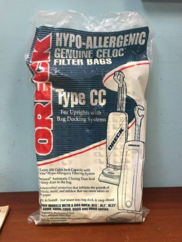 ORECK 8 HYPO ALLERGENIC CELOC VACUUM FILTER BAGS TYPE CC MORE AVAILABLE