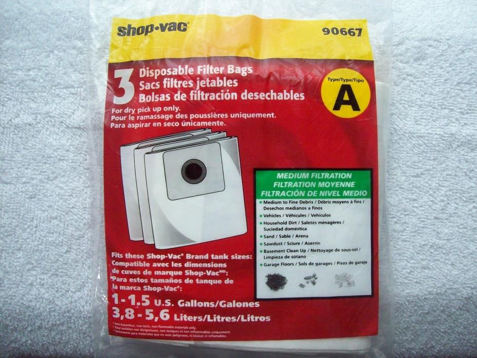 Genuine Shop Vac Type A Disposable Collection Filter Bags -3 Bags total
