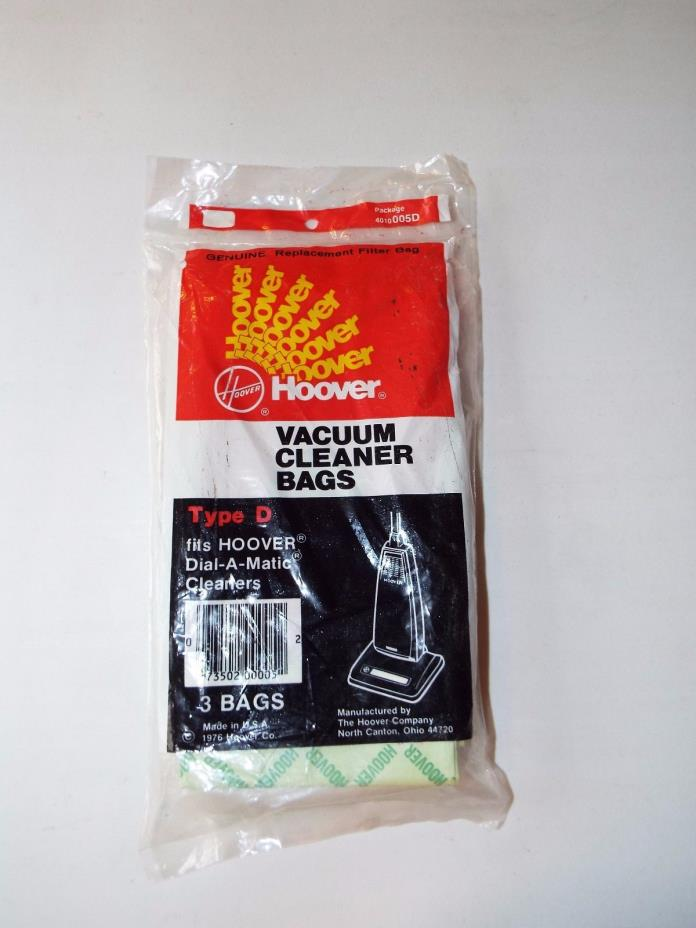 (5) Genuine Hoover type D Dial-A-Matic vacuum cleaner bags #4010005D - new