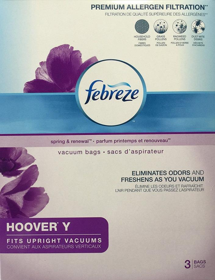 Febreze Vacuum Bags HOOVER Y Style 3-bags Spring & Renewal Scent NEW & SEALED