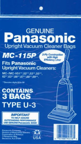 Panasonic MC-115P TYPE U3 Vacuum Bags