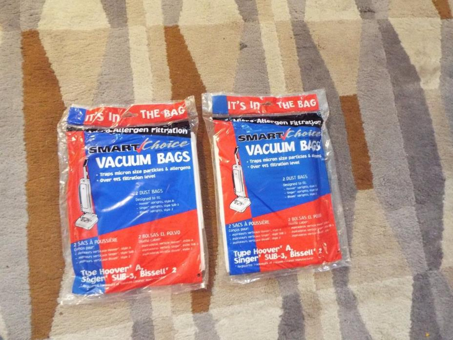 (4) Hoover type A & Bissell 2 micro allergen vacuum cleaner bags - new