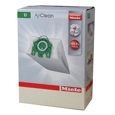 Miele U Vacuum Cleaner Airclean Bags 4 Bags 2 Filters Green Collar Genuine