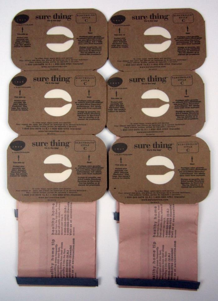 Lot of 6 Aerus by Electrolux Sure Thing Vacuum Cleaner Bags Style C - New