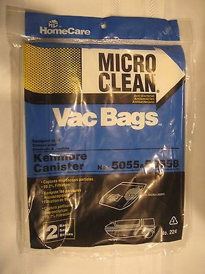 1 (2 PACKS) NEW HOMECARE KENMORE CANISTER VACUUM BAG - NOS 5055 & 50558 - DUST