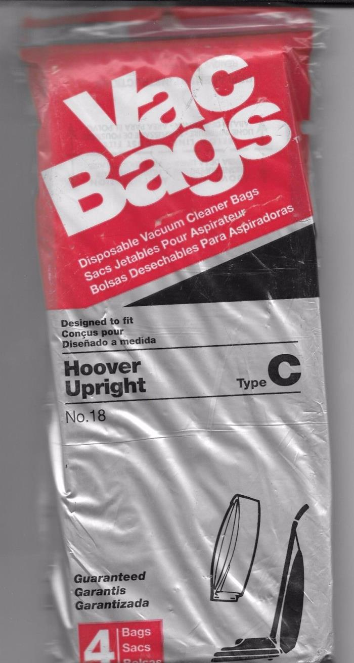 Vacuum Bags 1 Pack of 4 Bags Hoover Upright Type C Bottom Fill HomeCare