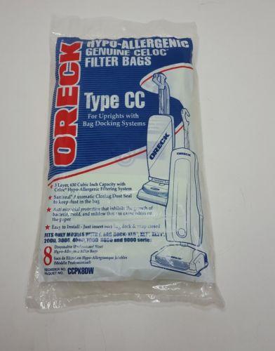 Genuine Oreck XL type CC Vacuum Bags CCPK8DW Hypo Allergenic bag of 8