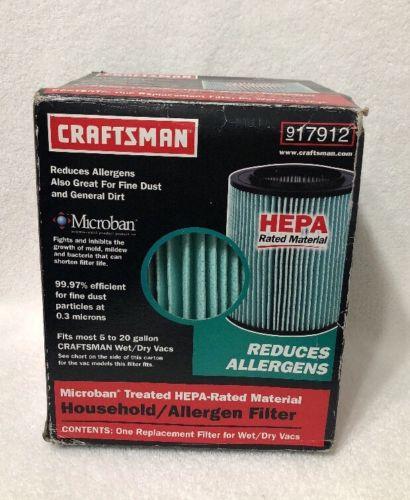 New Craftsman HEPA Material Vac Filter 17912