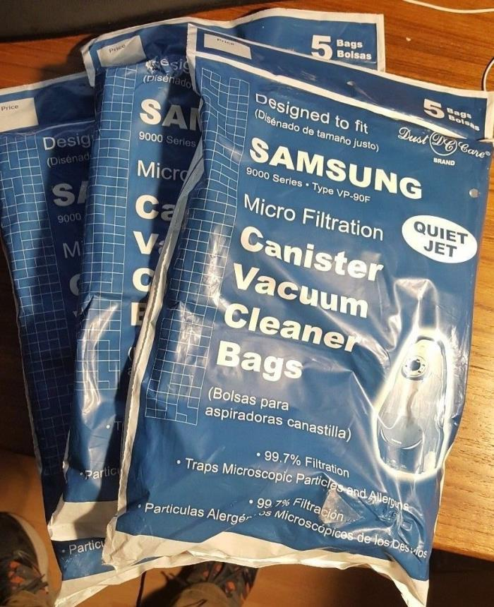 Quiet Jet Vacuum Cleaner Canister Bags- Total Of 15 bags- fit Samsung VP90F