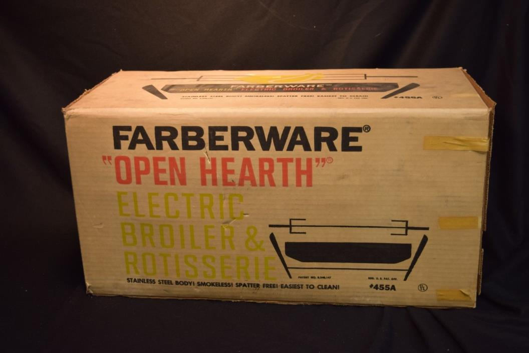 Farberware Open Hearth Electric Broiler & Rotisserie Model 455A New In Box