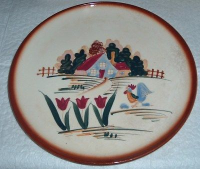 Vintage Salad Plate Hand Painted NC Mark Made in Japan Farm Tulips Pattern